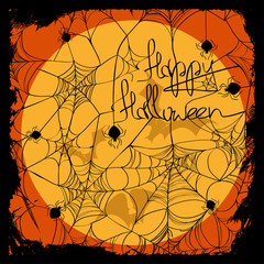 Halloween illustration with net pattern