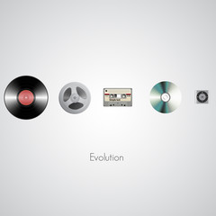 Sound technology evolution. Vector illustration