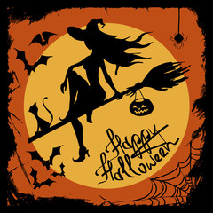 Halloween illustration with witch silhouette