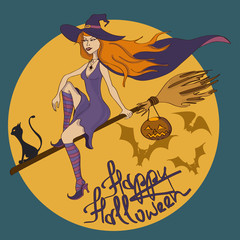 Halloween illustration with witch
