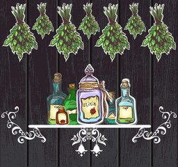 herbal potions vintage wooden background. apothecary old lore an