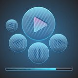 Vector round media player buttons