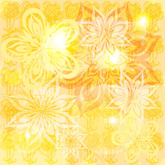yellow grungy bright background with  abstract graphic flowers
