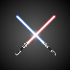 Crossed lightsabers. Vector illustration.