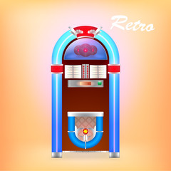 Vector illustration of retro juke box