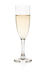 Flute with sparkling champagne isolated on white.