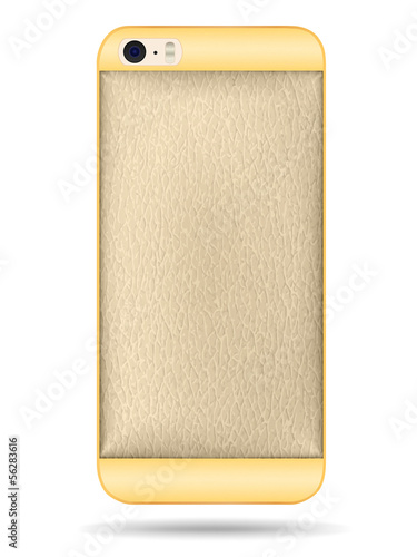 Vector smart phone back cover of gold and leather