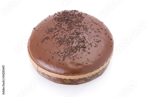 Chocolate fudge cake isolated on white background..