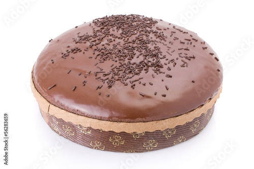 Chocolate fudge cake isolated on white background.