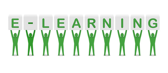 Men holding the word e-learning. Concept 3D illustration.