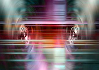 Music speakers with light streaks