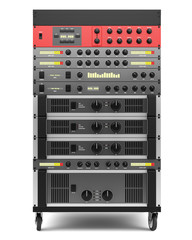 audio effects processors in a rack isolated on white backgroud