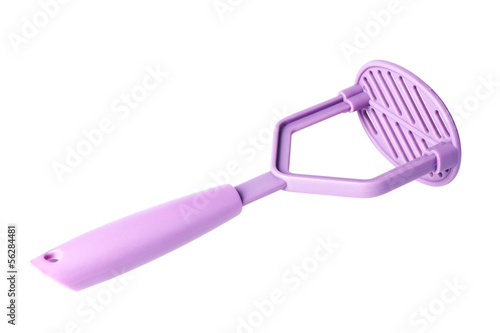 purple plastic potato masher isolated on white background