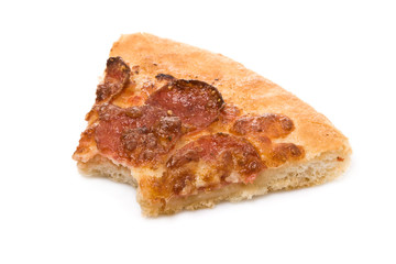 Bitten pepperoni pizza slice isolated on white background
