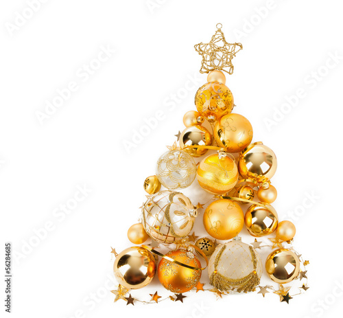 canvas print picture Christmas tree with golden balls
