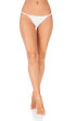 Woman legs, white background, copyspace