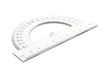 Transparent protractor isolated on a white background.
