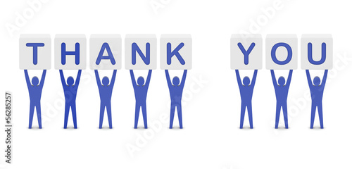 Men holding the phrase thank you. Concept 3D illustration.