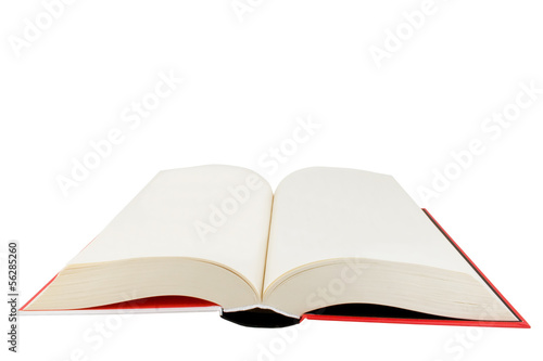 Open hardback book isolated on white