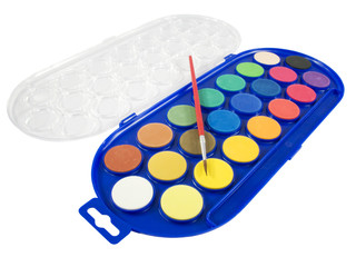New watercolor box with brush