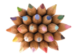 Color pencils collection with colors mixed..