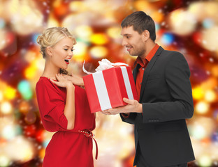man and woman with gift box