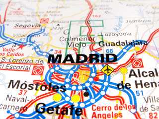 Close up of a road map of Madrid