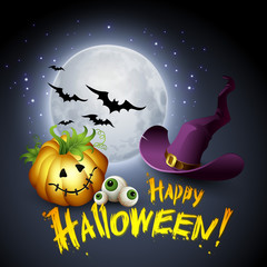 Vector Halloween  Background with Pumpkin, Hat, Moon,