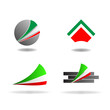 Abstract graphic design - geometric shapes with Italian colors