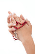 Praying with rosary, isolated