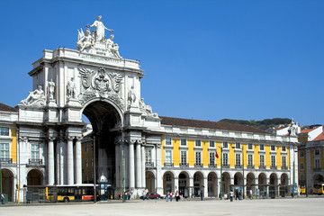 Commerce square in Lisbon, Portugal, and Triumphal Arch.