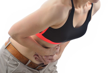 Woman with pain in stomach