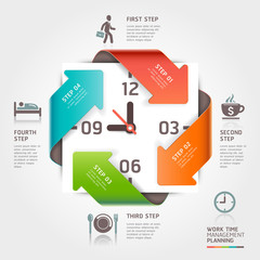 Abstract arrow work time management planning infographics
