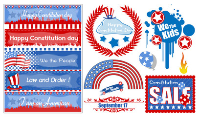 American Theme Constitution Day Design  Vector Set