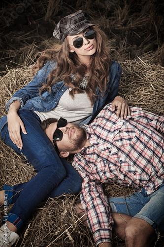 lying on haystack