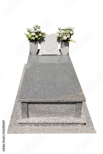 Christian blank gravestone isolated on white background.