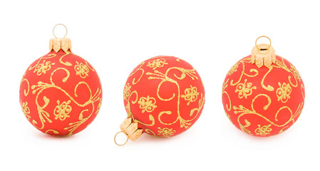 Three views of a Christmas ball isolated on white