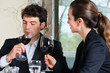 Businesspeople have a lunch in restaurant