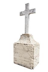 Christian blank gravestone isolated on white background.