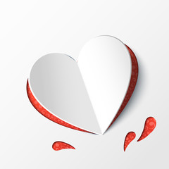Card with a paper heart. Origami