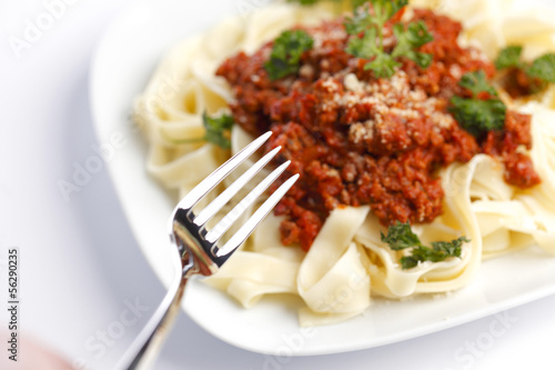 Spaghetti bolognese and fork