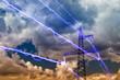 Leinwanddruck Bild - Electricity pylon