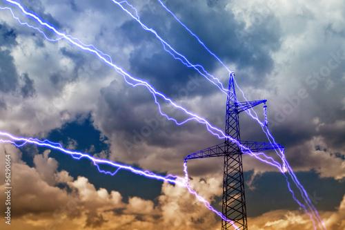 Leinwanddruck Bild Electricity pylon