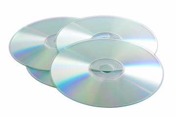 Silver Compact Discs isolated on a white background.