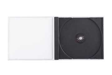 Empty DVD case isolated on a white background.