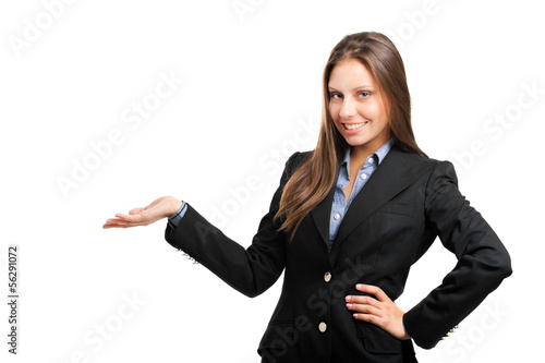 Business woman showing the copyspace using her hands