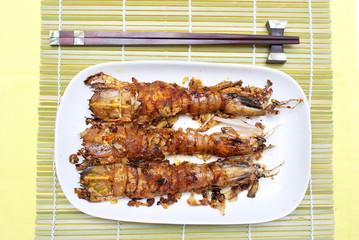 Fried garlic Mantis shrimp