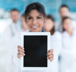 Doctor holding tablet computer