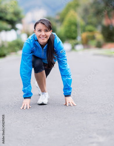 Fit woman ready to run