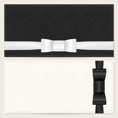 Voucher, Gift certificate / card, Coupon, Invitation. Black bow